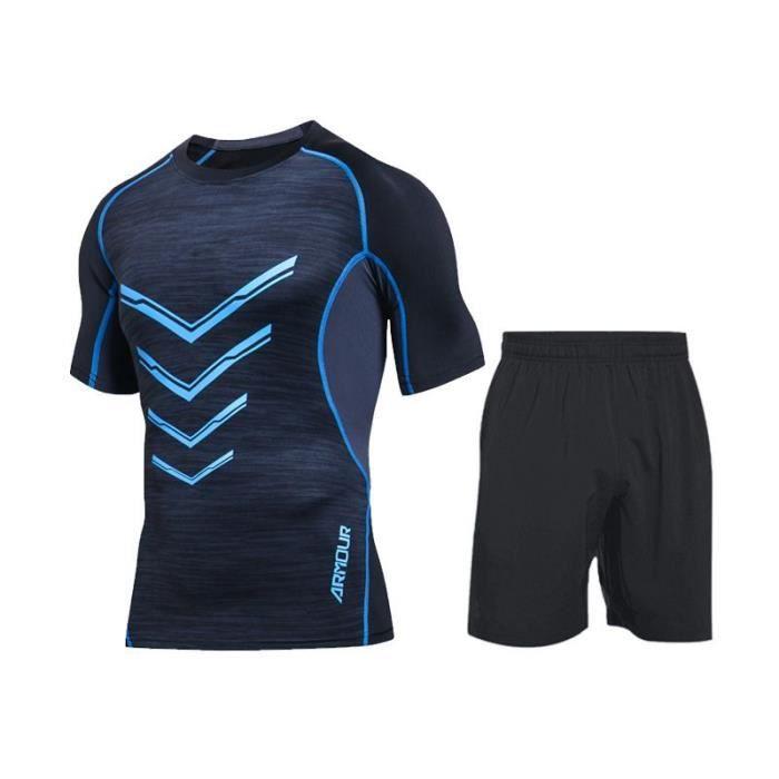 Ensemble de Vetement de Sport Homme Running Fitness T-shirt+Short