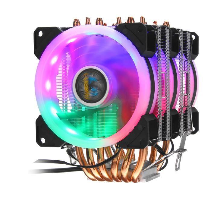 Neufu Ventilateur processeur Rgb 6 Caloducs 3 Pin Pour Intel 775 1150 1156 1366 Amd