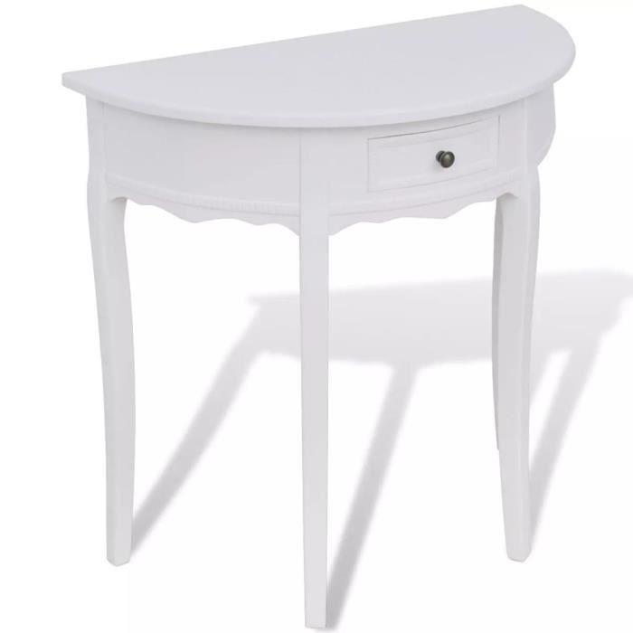 Table console extensible Table d'Appoint Table d'entrée contemporain avec tiroir Demi-ronde Blanc
