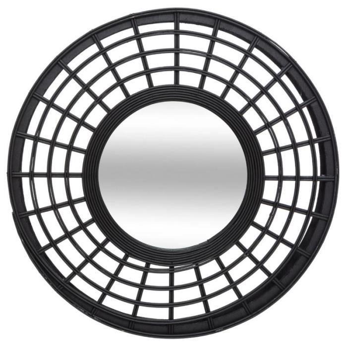 Miroir Mural Rond Design -Relief- 56cm Noir