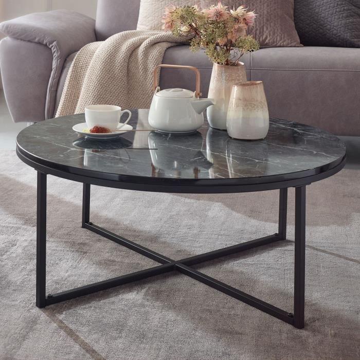 WOHNLING table basse aspect marbre table noire Ø80cm table de salon ronde métal