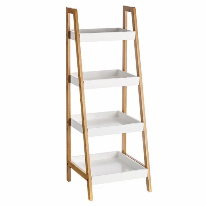 et de Bibliothèque de bois étagères blanc bambou 35x34x98 4 y80wOmNPnv