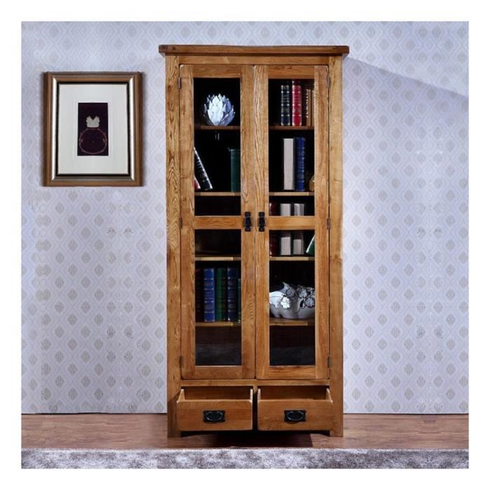 huayi biblioth que en ch ne massif quatre tag res avec deux tiroirs et deux portes 89 40. Black Bedroom Furniture Sets. Home Design Ideas