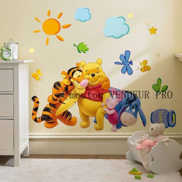 ❤NOUVEAU WINNIE L/'OURSON GRAND STICKER MURAL ENFANT AUTOCOLLANT AMOVIBLE