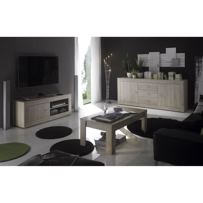 Ensemble salon decor ch ne clair tika e2 achat vente for Meuble salon gris clair