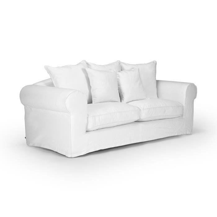 canap 3 places hampshire avec housse en tissu blanc massivum achat vente canap sofa. Black Bedroom Furniture Sets. Home Design Ideas