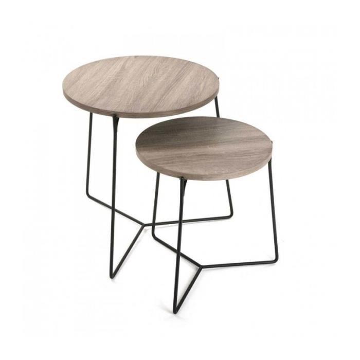 Set De 2 Tables Basses Gigognes Rondes Bois Et Metal Noir 0 000000