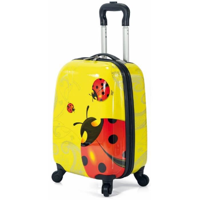 valise enfant motif coccinelle rouge jaune jaune achat vente valise bagage 3662796046388. Black Bedroom Furniture Sets. Home Design Ideas