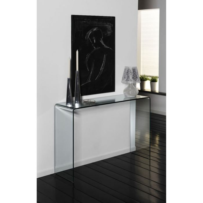 console fixe design en verre tremp 12mm achat vente console console fixe design en verr. Black Bedroom Furniture Sets. Home Design Ideas
