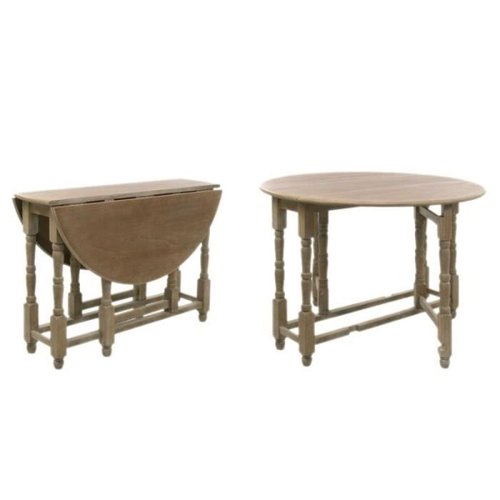 Table pliable ronde bois grey 116x79cm j line achat vente table a manger - Table a manger pliable ...