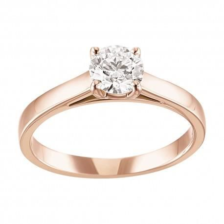 Extrêmement SOLITAIRE OR ROSE DIAMANT Rose - Achat / Vente alliance  QO65
