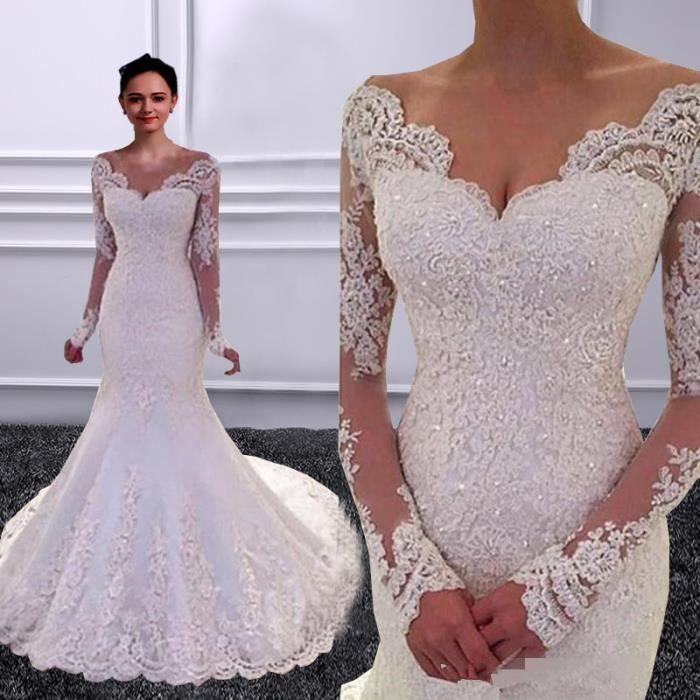 Robe de mariée sexy sirène manches longues