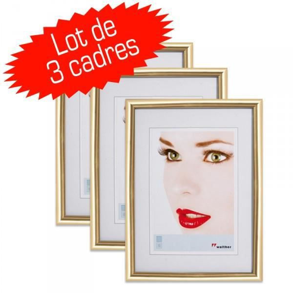 lot de 3 cadres photo galeria 15x20 cm or achat vente cadre photo cdiscount. Black Bedroom Furniture Sets. Home Design Ideas