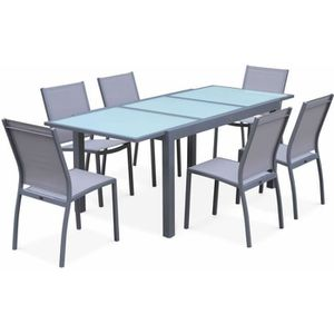 SALON DE JARDIN  Salon de jardin table extensible - Orlando Gris cl
