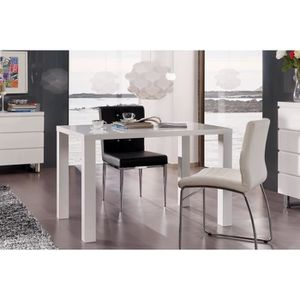 Table A Manger Blanc Laque 120 Cm Achat Vente Table A