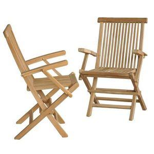 FAUTEUIL JARDIN  Lot de 2 fauteuils de jardin en TECK BRUT QUALI…