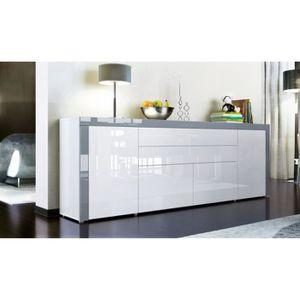 BUFFET - BAHUT  Buffet enfilade blanc au contour gris 200 cm
