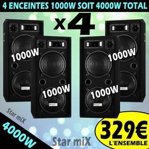 ENCEINTE ET RETOUR ENCEINTES SONO DJ 4 X 1000W DOUBLE BOOMER SONO ROB