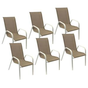 FAUTEUIL JARDIN  Lot de 6 chaises MARBELLA en textilène taupe/struc