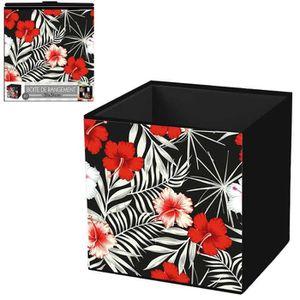 BOITE DE RANGEMENT Cube de rangement 'Hibiscus' rouge noir - 31x31 cm