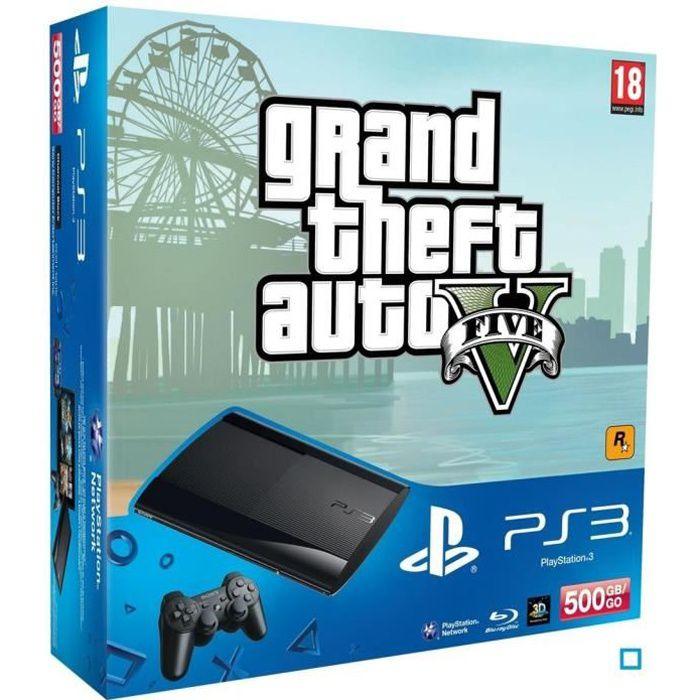 Pack Console PS3 500 Go Slim + Jeu GTA V
