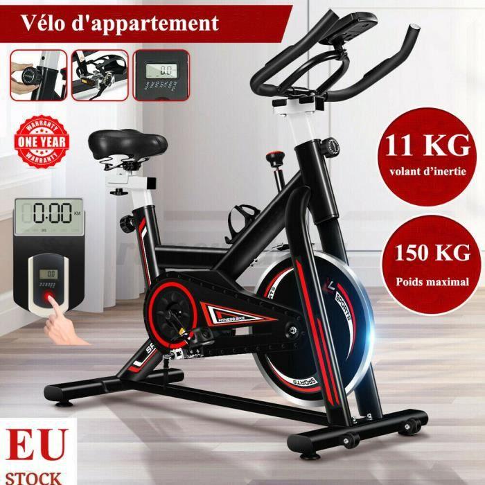 Vélo d'appartement biking entrainement - Inertie de 11 kg - Vélo d'Exercice Multifonction Capteur Fréquence Cardiaque - Noir