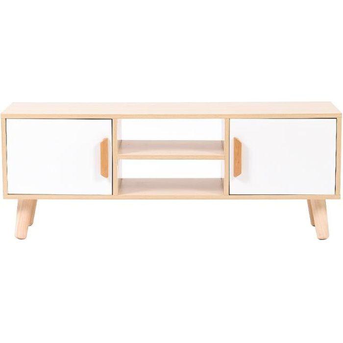 WSdwqaa® Meuble TV scandinave décor Blanc + chêne - pieds en bois - 2 Portes et 2 niches - L 110 cm