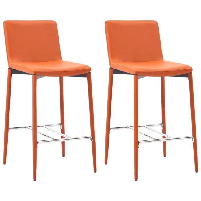 @MEUBL6871Vintage Lot de 2 tabourets de bar Chaises de Bar Design Elégant - Tabouret Haut Tabouret de Cuisine Orange Similicuir