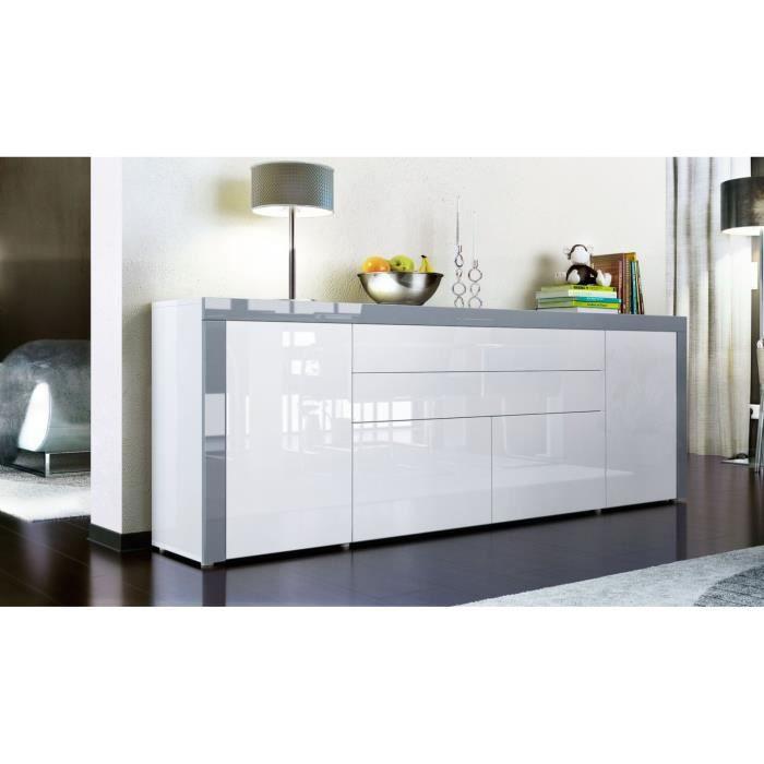 Buffet enfilade blanc au contour gris 200 cm