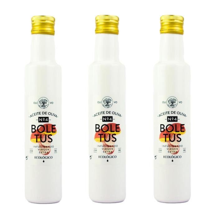 Lot 3x Huile olive extra vierge BIO - Infusée aux cèpes - bouteille 250ml