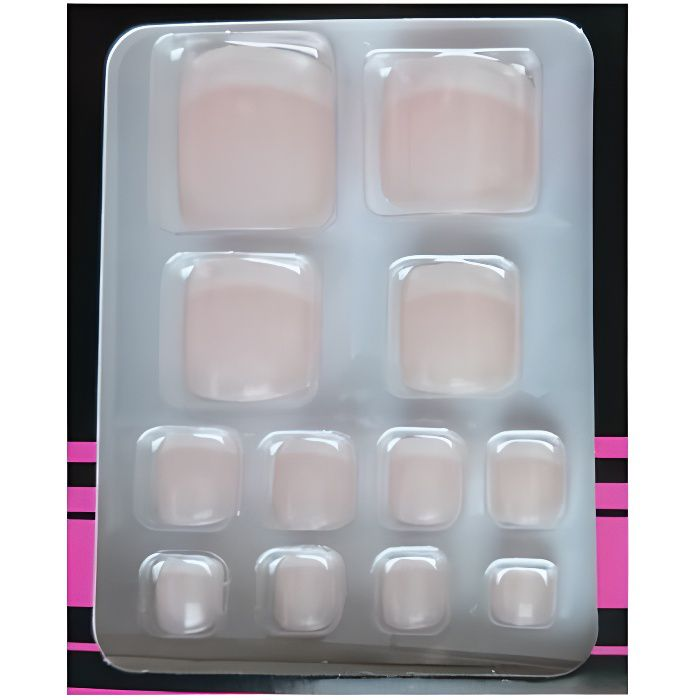 Faux Ongles Pour les Pieds + Adhesifs - Rose Bout French Manucure