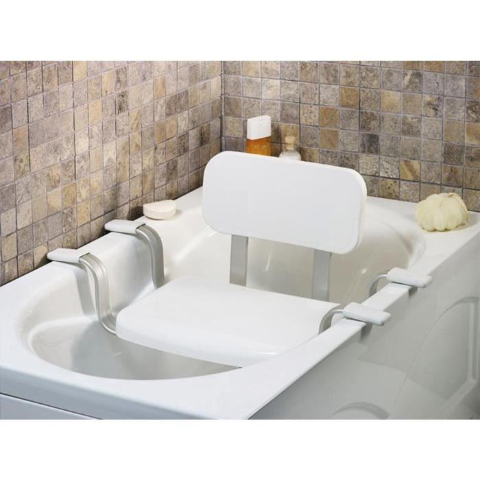 Siège de baignoire VITAEASY avec dossier - Embouts antidérapants en caoutchouc - L 43 x l 34 cm - Blanc chromé
