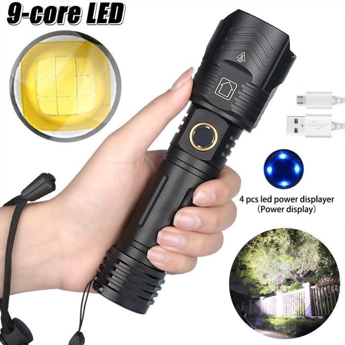 2021 puissant 9-Core XHP100 LAMPE DE POCHE LED XHP Lampe À MAIN Rechargeable Torche Zoom 26650 C-P100 26650-3000mah ZOOM -AOAE1466