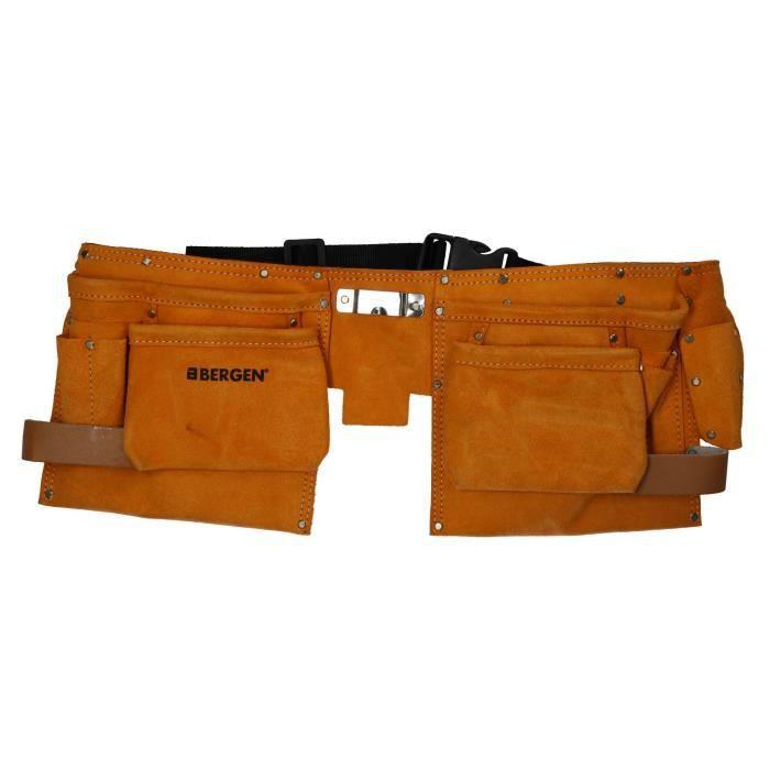 Double cuir Tool Pouch 11 poche de Split en cuir suédé bricoleur ceinture