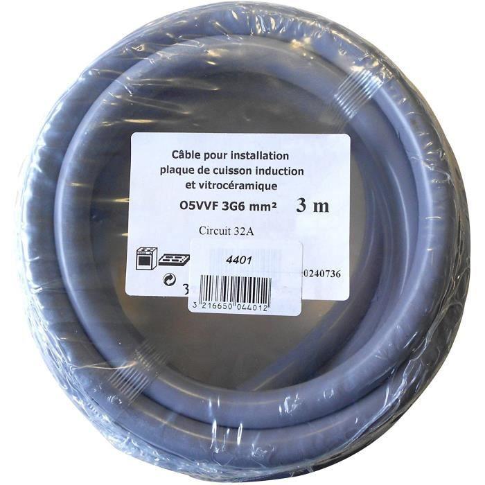 4401 CABLE ELECTRIQUE 3G6MM2 HO5VV-F 3M pour installation plaque de cuisine induction ou vitroceramique, circuit 32A, Gris