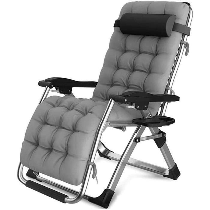 Chaise de jardin DQCHAIR Fauteuil de Banquette de terrasse tr&egraves Large, inclinable, r&eacuteglable en Hauteur, Confortabl1