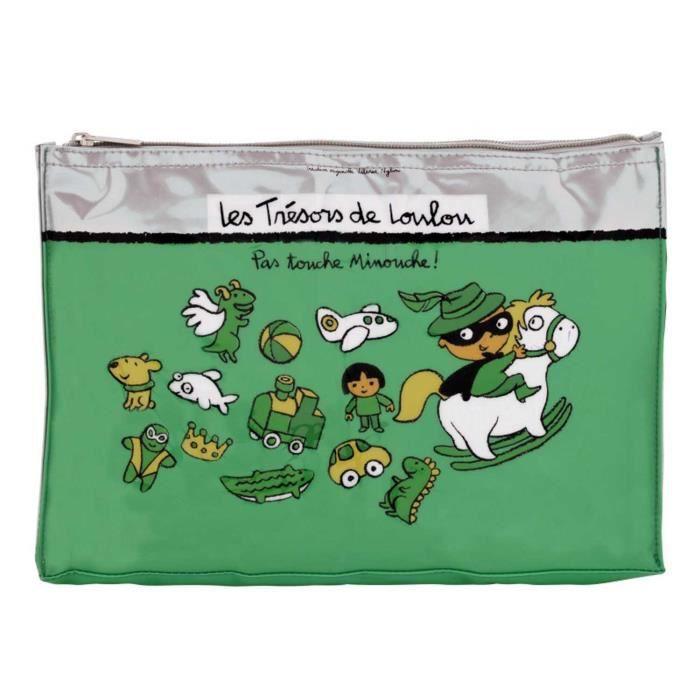 Trousse à Bazar TRÉSORS DE LOULOU Vert - Rangement Pour Voyage Enfant Bébé Garçon - Création Valérie Nylin Dlp Derrière La Porte
