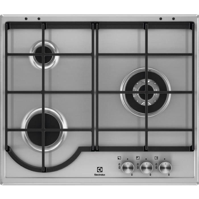 Electrolux EGH6333BOX, Intégré, Cuisinière à gaz, Acier inoxydable, Acier inoxydable, Acier inoxydable, 1000 W