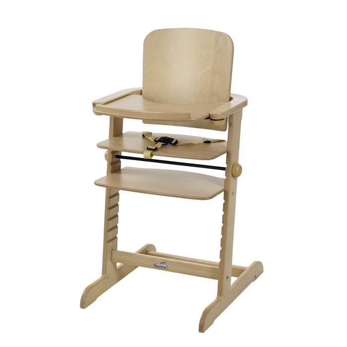 GEUTHER Chaise haute évolutive Family en hêtre - Naturel - tablette incluse
