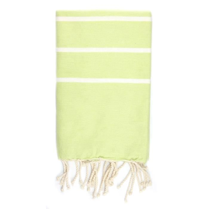 Fouta 100 cm x 200 cm Ibiza Vert Anis Rayures Blanches - 100% coton - finition franges