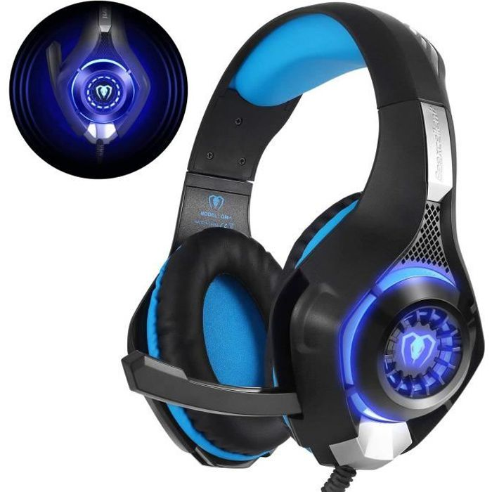 Beexcellent Gm 1 Casque Gaming Ps4, Casque Gamer avec Micro Premium Anti Bruit Audio Stéréo Basse avec Led Lampe Gaming Compatible
