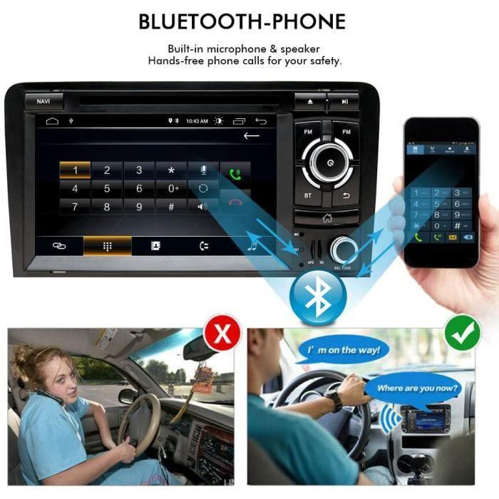 7 Pouces Android 10 Autoradio Double Din Stereo pour Audi A3 8P S3 RS3 2003-2012 avec Ecran Tactile HD CD DVD Navigation GPS Bluetoo