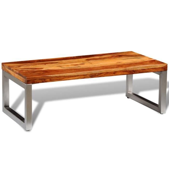 Table basse design scandinave salon contemporain avec pieds en acier Bois massif de sesham