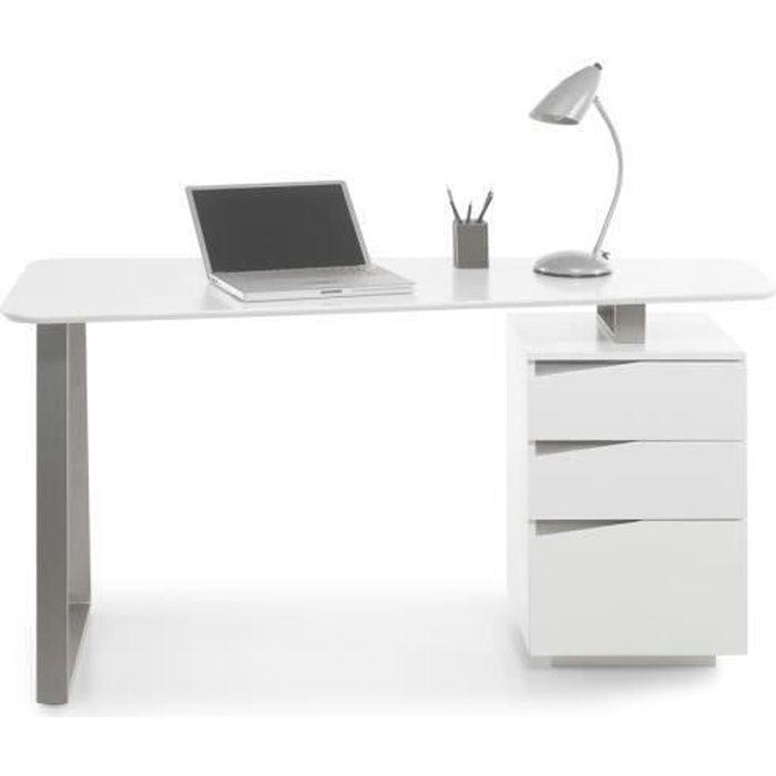 Bureau avec 3 tiroirs coloris laque blanc mat - L150 x H76 x P67 cm