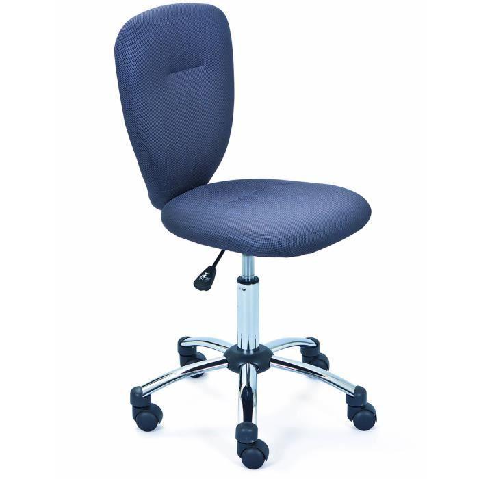 Chaise de bureau pour enfant en métal, coloris gris - Dim : L 40 x P 48 x H 86-98 cm
