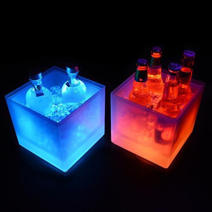 Seau à glace de 3,5 L à lumière LED colorée - Pour champagne, vin, boissons, bière - Pour bar, fête