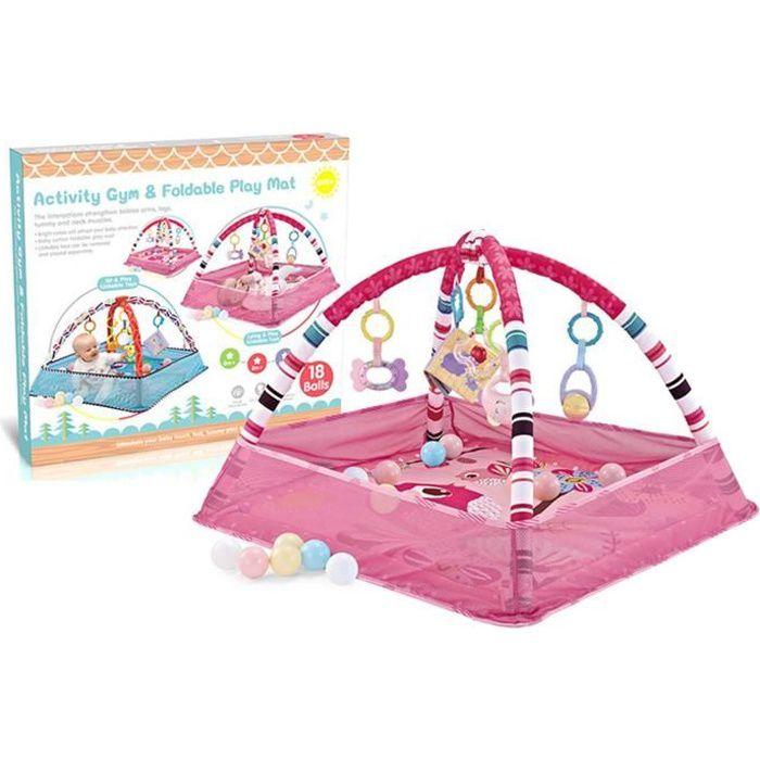 Tapis d'éveil Tapis de jeu bébé 80*80*55cm avec 18 balles océaniques -rose