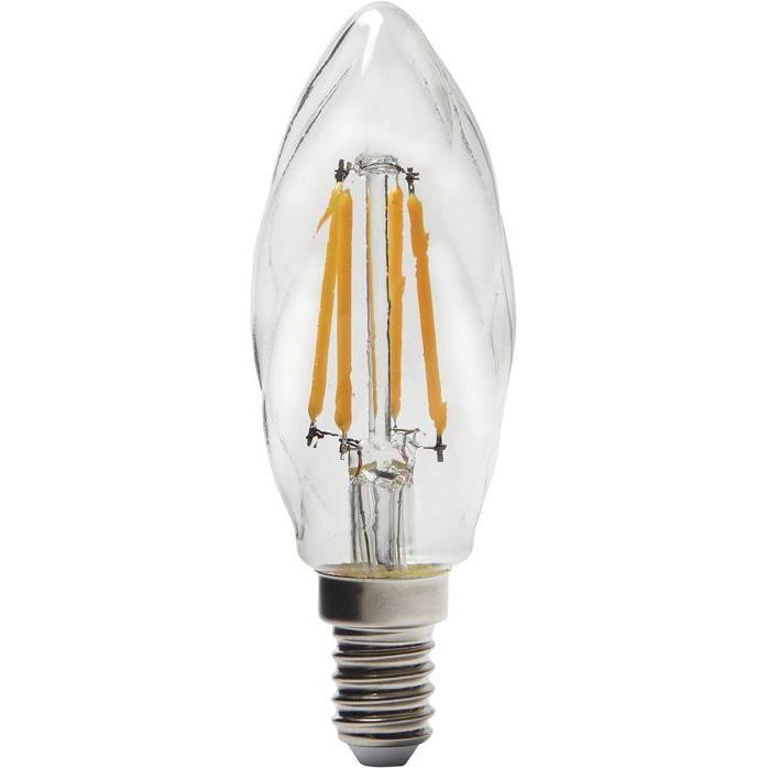 SYLVANIA - Led filament flamme torsadée 420lm E14 clair boite