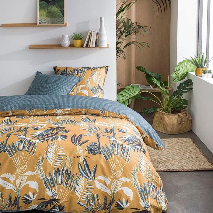 TODAY Parure de lit SUNSHINE 5.29 - 2 personnes - 220 x 240 cm coton - Imprimé Jaune Floral TODAY