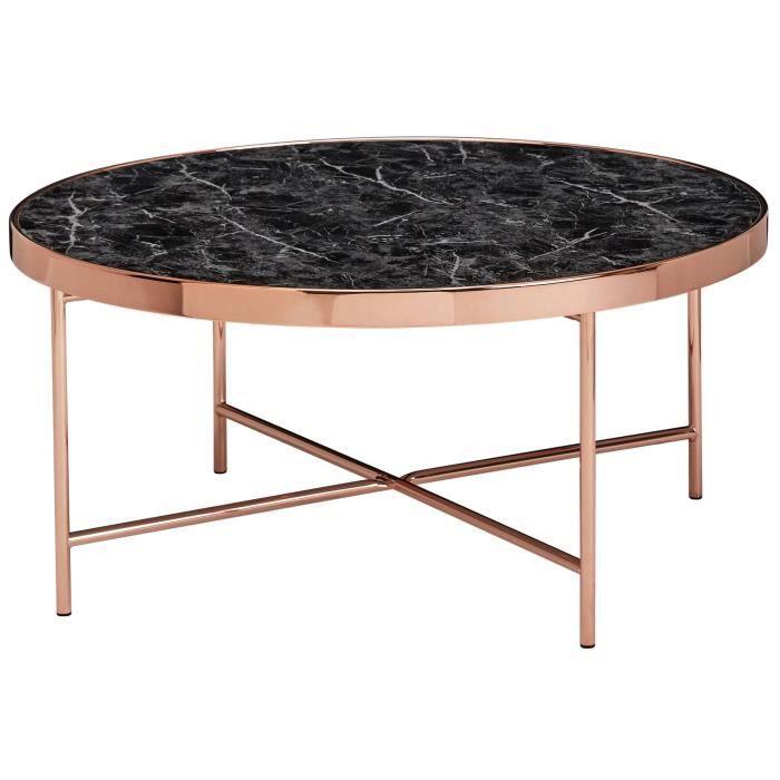 WOHNLING table basse aspect marbre noir ronde Ø82,5 cm table basse cuivre